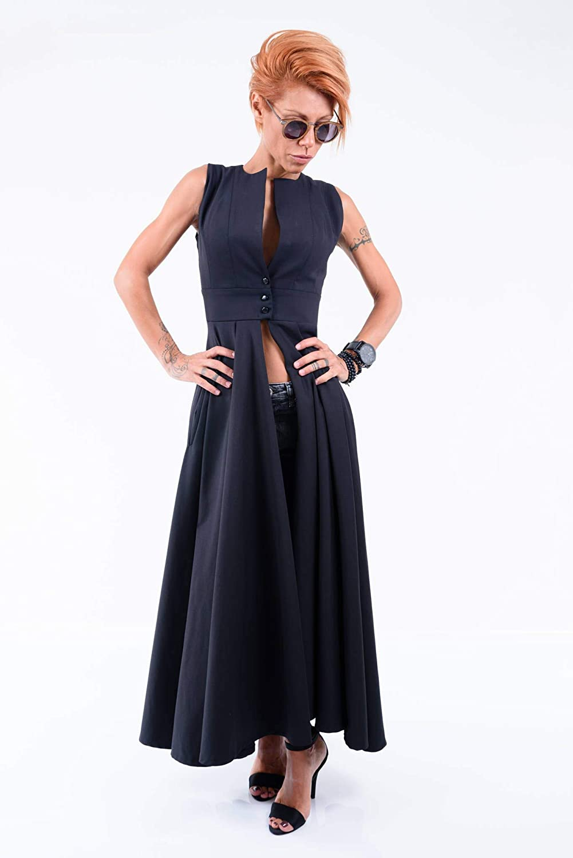 6873b4dec11f LOCKERROOM Black Extravagant Evening Long Daywear Maxi Asymmetric  Bridesmaid Shirt Dress