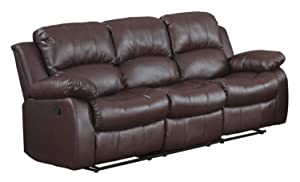 3 seat Sofa Double Recliner Black / Brown Bonded Leather