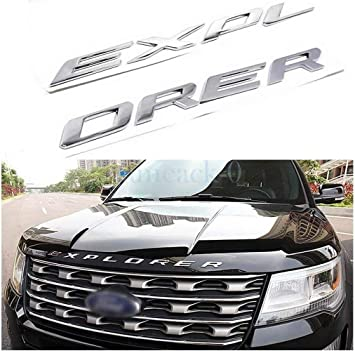 not plastic,Car Head Cover English Letter Logo Car Decoration-Chrome Chrome Metal Hood Letters Emblem for Ford Explorer