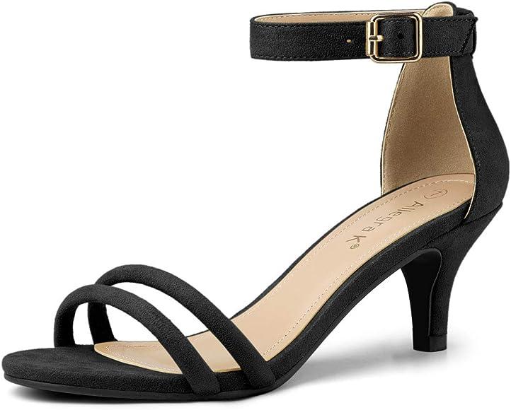 black kitten heels with ankle strap