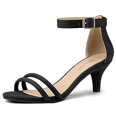 f2803083dfe7 Allegra K Women s Low Kitten Heel Ankle Strap Black Sandals - 6 ...