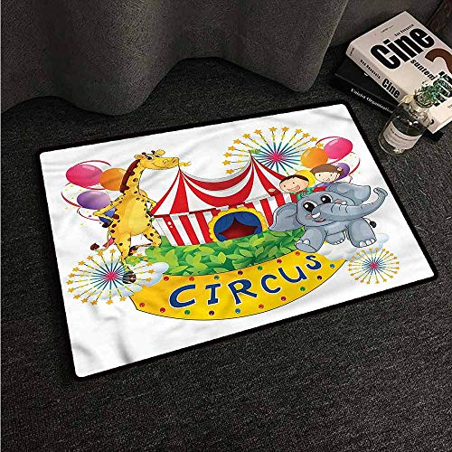 VIVIDX Washable Doormat,Circus,Circus Show with Kids,All Season Universal,20