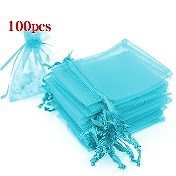 Boshen 100/200PCS Organza Gift Candy Sheer Bags Mesh Jewelry Pouches Drawstring Bulk for Wedding