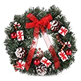 Home-X Festive Red and White Christmas Wreath