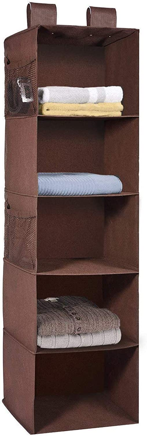 MaidMAX 5 Tiers Cloth Hanging Shelf for Closet Organizer with 2 Widen Straps and 4 Mesh Pockets, Foldable, Brown, 42 Inches High