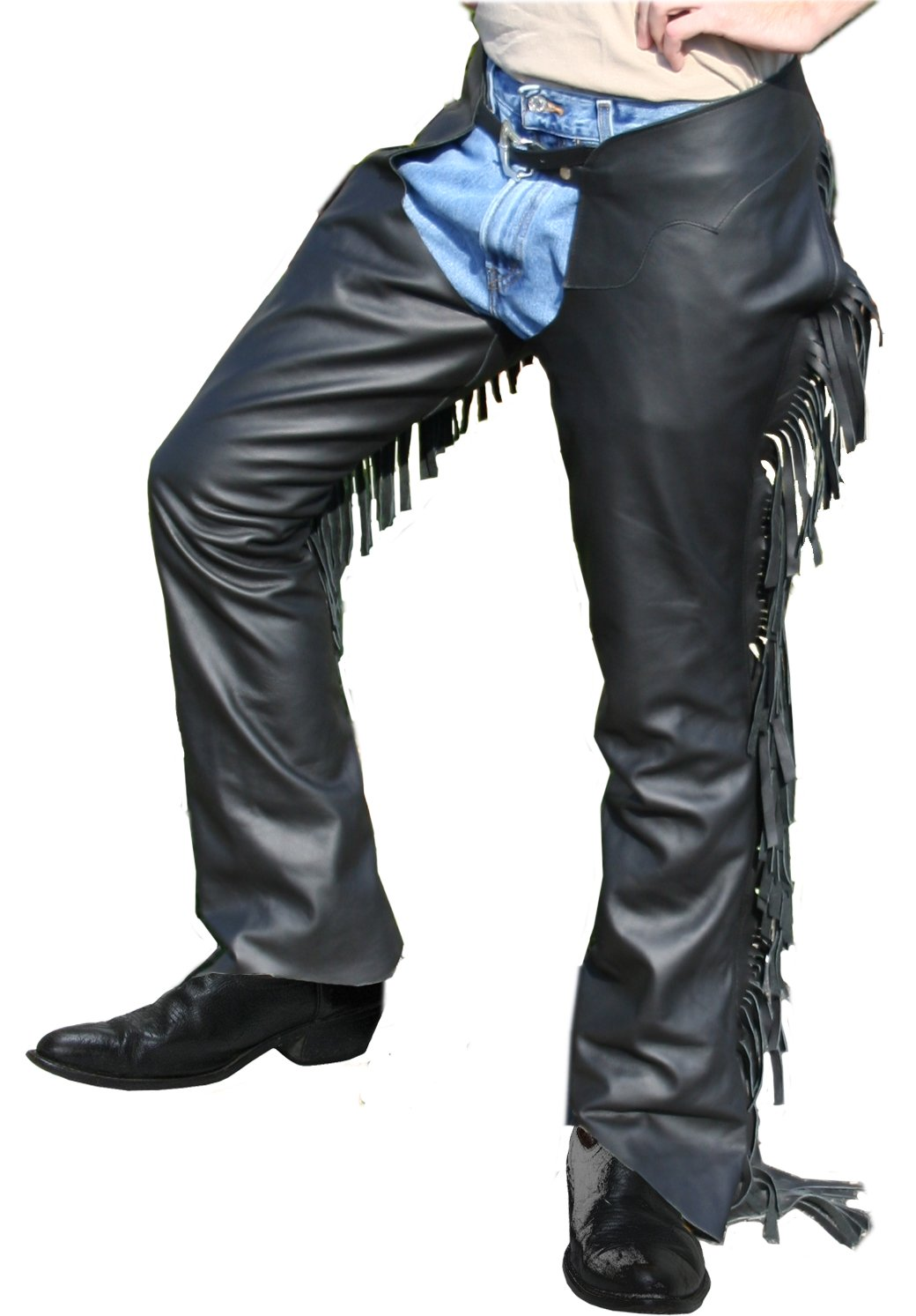 Tahoe Tack Smooth Leather Show Chaps with Fringes USA Leather- Black Small at Wholesale Price