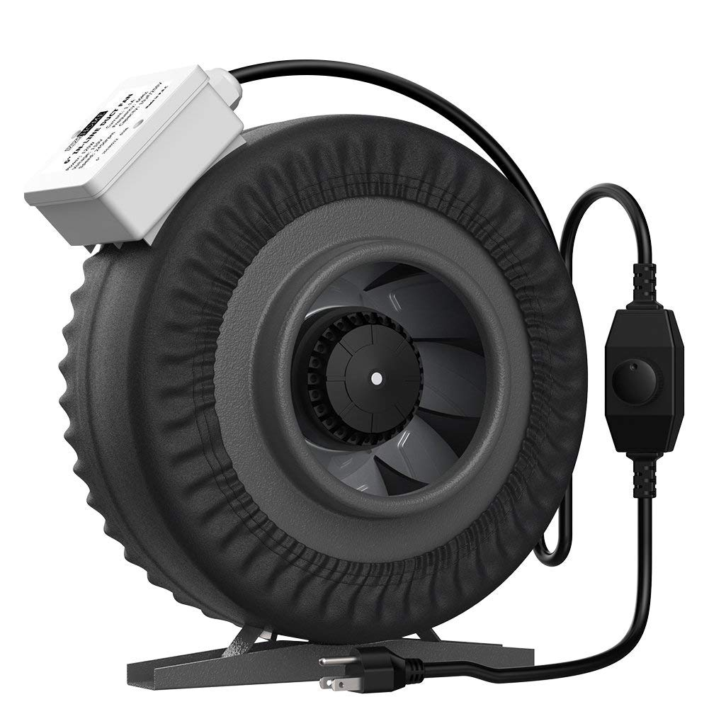 VIVOHOME 6 Inch 440 CFM Round Exhaust Inline Duct Fan with Speed Controller and Leather Sheath Renewed