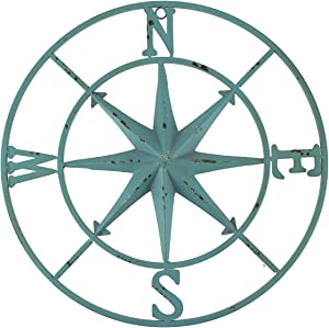 PD Home & Garden Distressed Metal Compass Rose Indoor/Outdoor Wall Hanging - Blue
