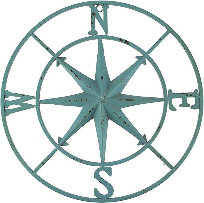 PD Home & Garden Distressed Metal Compass Rose Indoor/Outdoor Wall Hanging - Blue