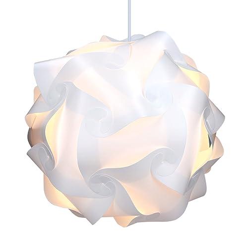 kwmobile Lampe puzzle abat-jour XL - Luminaire IQ 30 pcs 15 designs lumière blanche - Diamètre env 40 cm - Avec support plafond câble douille E27