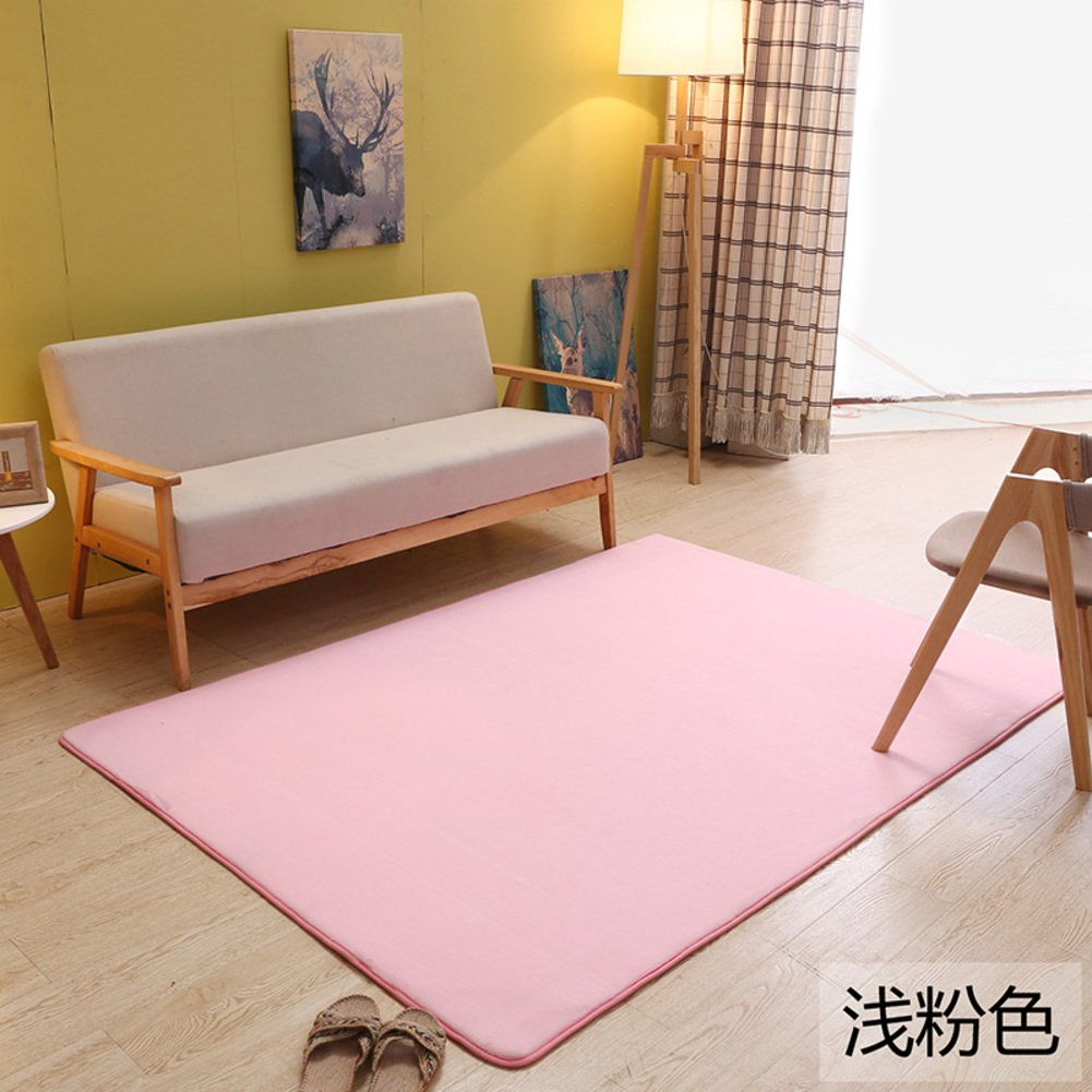 Coral velvet solid-color living room mat Carpet Bay window blanket Household use Simple [modern] Tea table The carpet for the living room Bedroom Rectangular bed blanket-J 200x250cm(79x98inch)