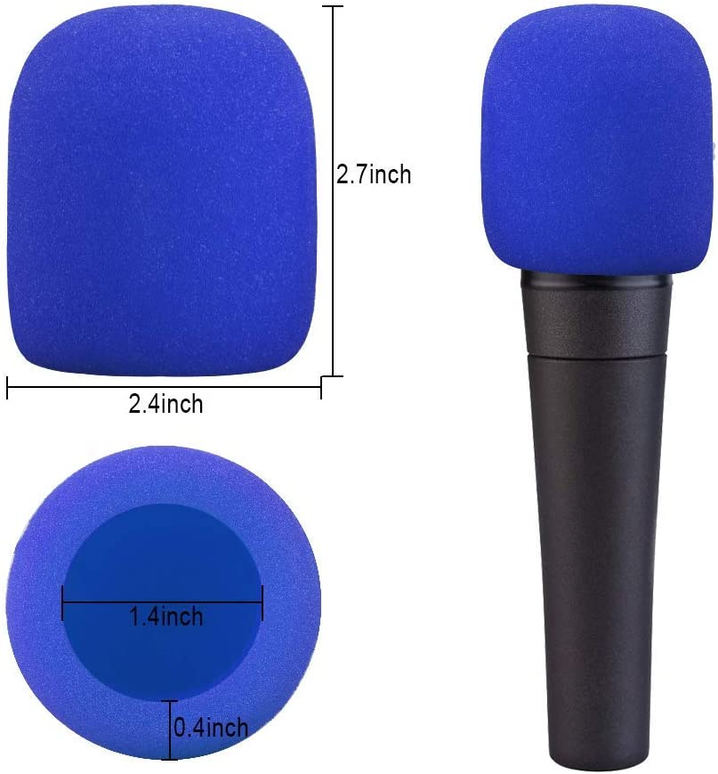 10er Pack Blue Handheld Bühnenmikrofon Windschutz Schaummikrofon Abdeckung