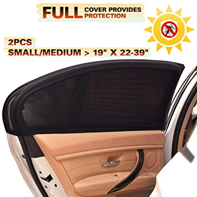 CARBONLAND Car-Window-Shades Side Rear Sun Protection Fit Small/Medium Car(2pck): Automotive