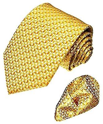 LORENZO CANA - Luxury Italian 100% Silk Tie Hanky Set Gold Yellow - 8406001