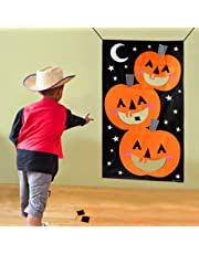 Aparty4u Halloween Party Games, Pumpkin Hanging Toss Game with 3pcs Bean Bags, Indoor Outdoor Throwing Games for Kids Halloween Decoration Props 30X54inch