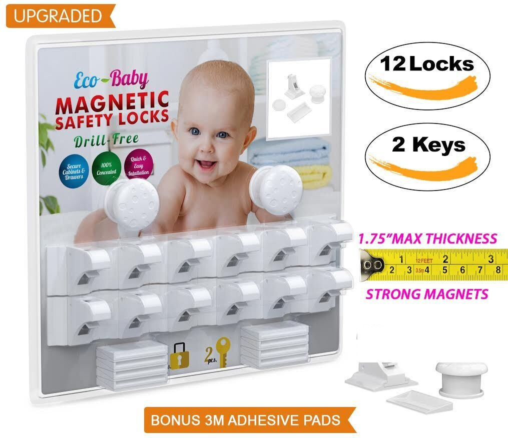 Baby & Child Proof Cabinet & Drawers Magnetic Safety Locks By Eco Baby Heavy Duty Locking System (12 pack) Ecobaby EB01