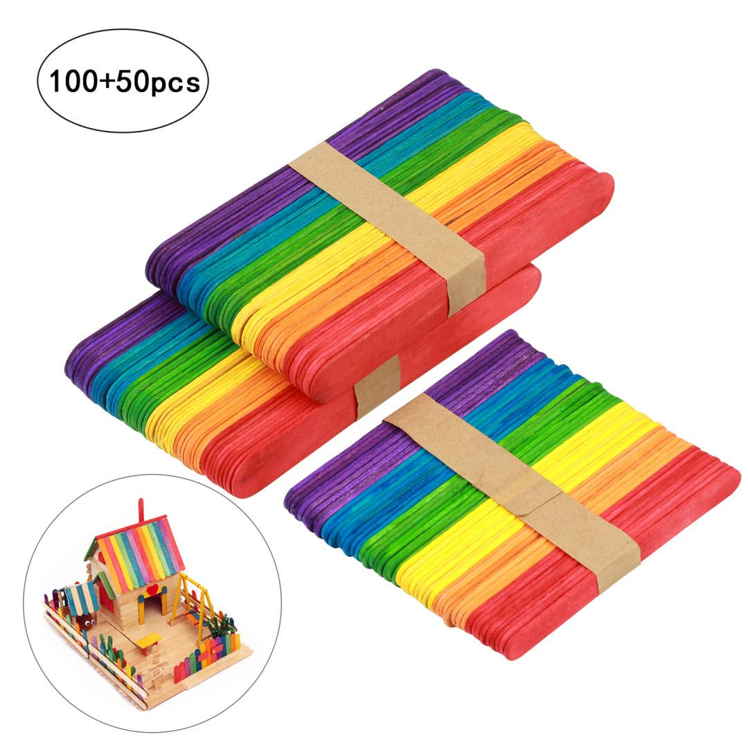LANMOK Rainbow Colored Wood Craft Sticks 150pcs DIY Multi-Colored Jumbo Craft Sticks for Crafters Kids Teachers