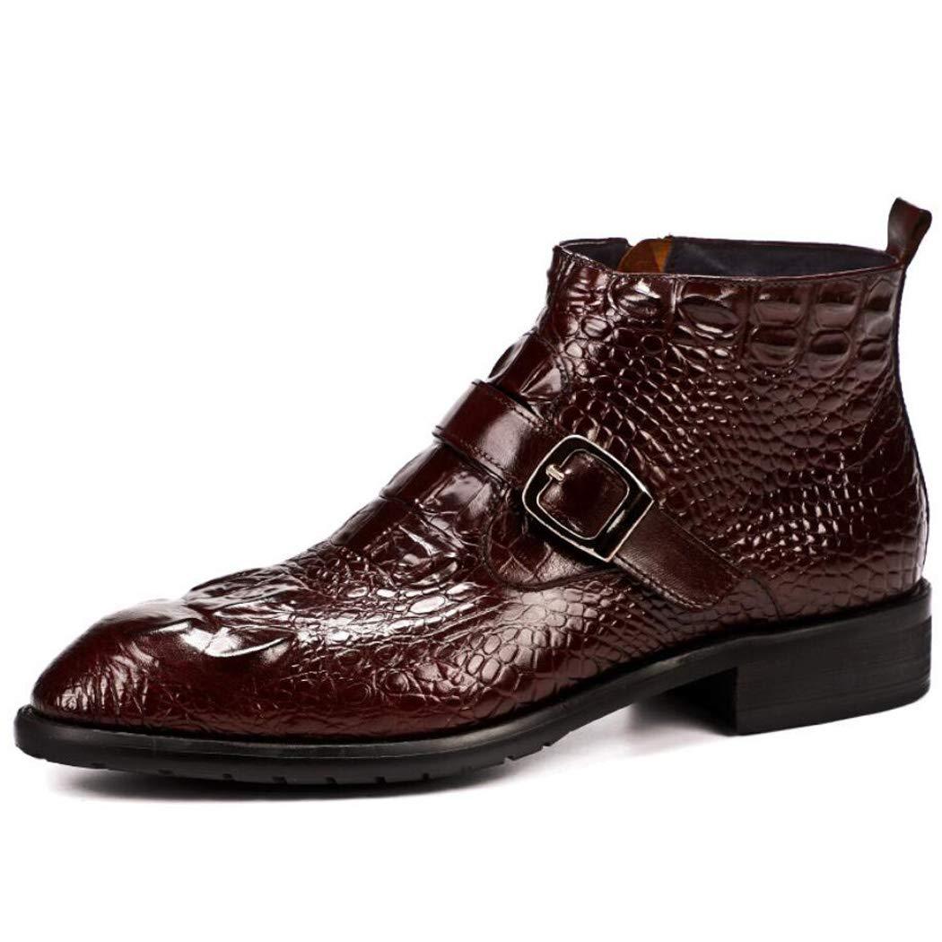 QARYYQ zapatos De Cuero Británicos Patrón De Cocodrilo Masculino Un Pie Patrón De Pitón zapatos De Boda De Moda zapatos De Cuero Brillante De Los hombres Antideslizantes botas de Cuero de los hombres marrón