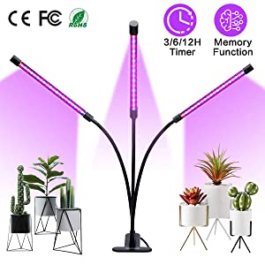 Winjoy Grow Light, 30W LED Grow Lamp Bulbs Plant Lights Full Spectrum, Auto ON & Off with 3/6/12H Timer 5 Dimmable Levels Clip-On Desk Grow Lamp, Triple Head Adjustable Gooseneck for Indoor Plants