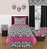 Sweet Jojo Designs 3-Piece Hot Pink, Black and White Isabella Children's and Teen Full / Queen Girls Bedding Set