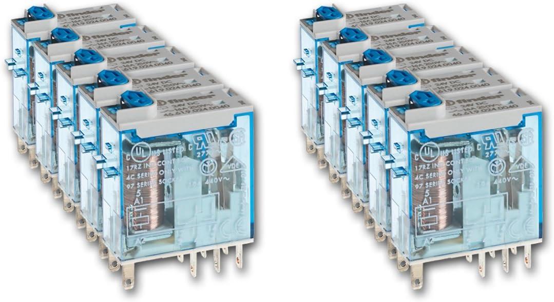 Finder 465290240074 - Mini-relé industrial enchufable 2 contactos 8 A - CC - 24 V con pulsador de prueba doble LED (DC no polarizado) e indicador mecánico29 x 13 x 33 cm AgNi (25 x 05 mm) transparente