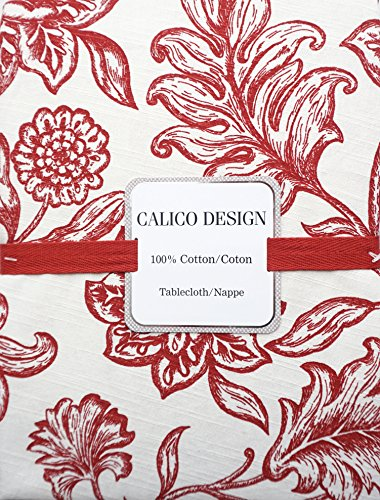 Calico Designs Fabric Tablecloth Jacobean Floral Toile Block Print Pattern Red on Cream / Off-White -- 60 Inches ()