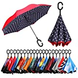BAGAIL Double Layer Inverted Umbrellas Reverse Folding Umbrella Windproof UV Protection Big Straight Umbrella Car Rain Outdoor C-Shaped Handle Blue Dot