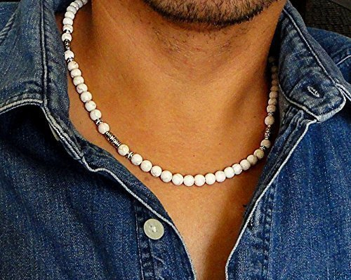 White Magnesite Gemstone 6mm Beaded Mens Necklace 18, 20, 22 inch - Handcrafted in USA