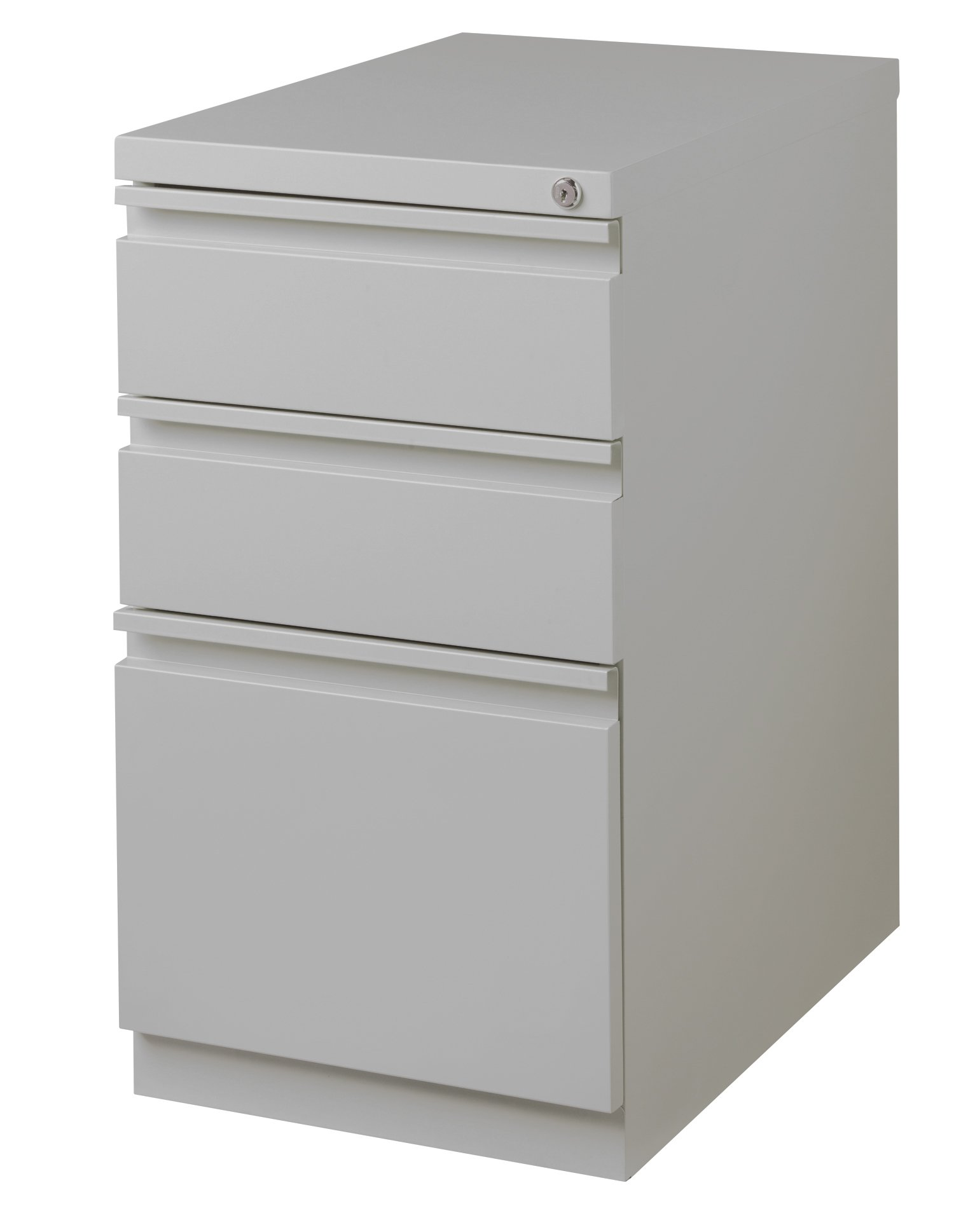 Office Dimensions Commercial Grade 20'' Deep Mobile Pedestal File Cabinet, 3 Drawers (2 Storage, 1 File), Platinum