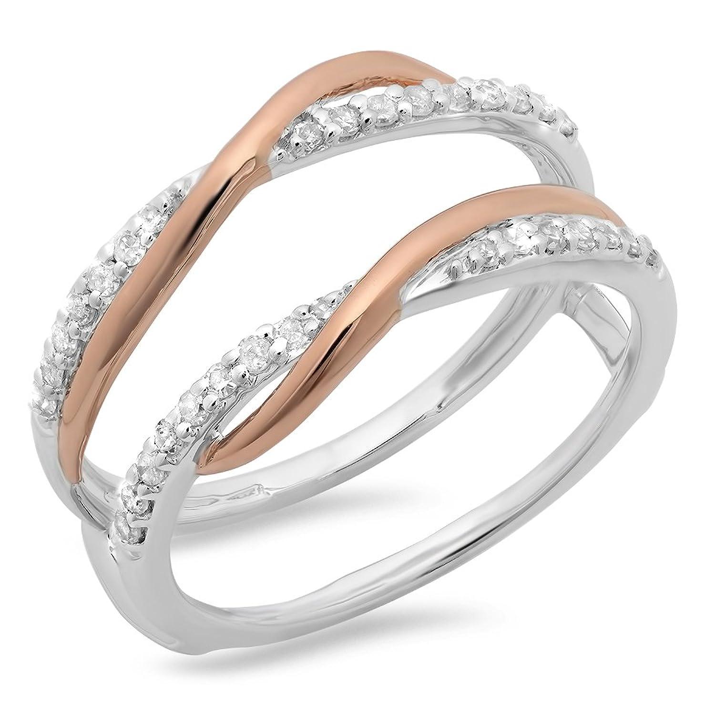 0.25 Carat (ctw) 14K Two Tone Gold Round Diamond Bridal Wedding Enhancer Swirl Double Guard Ring 1/4 CT