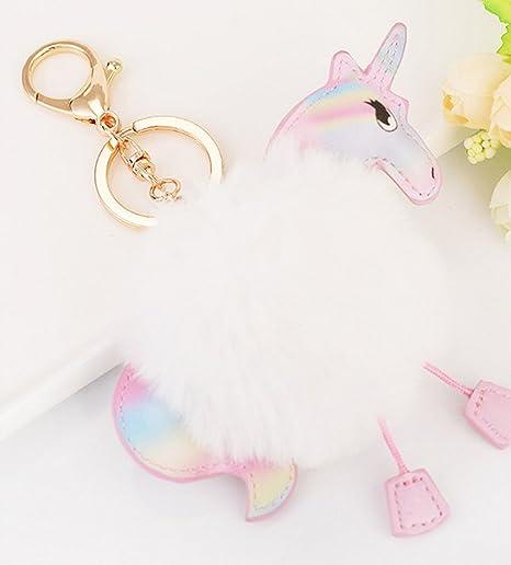 Amazon.com: 1 pc Mini bolsillo unicornio llavero de piel de ...
