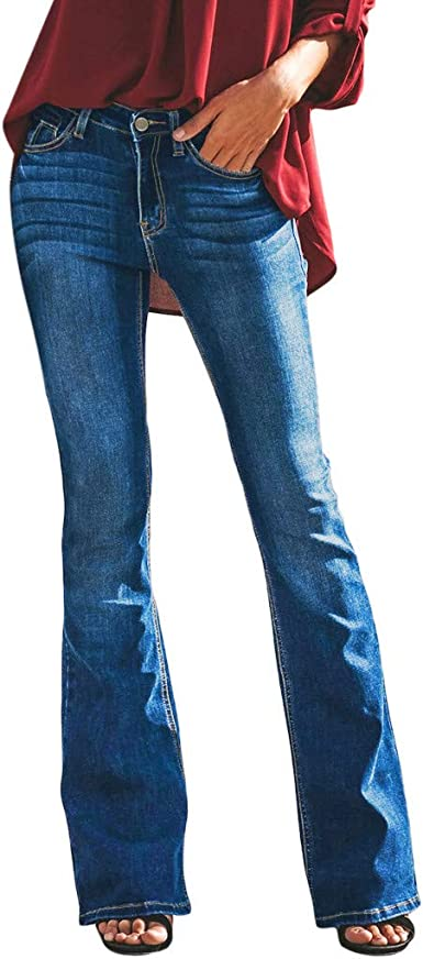 Pantalones Mujer Slim Fit Pantalones Acampanados Cintura Alta Pantalones De Mezclillade Mujer Skinny Vaqueros Mujer Ultra Moda Transpirable Pantalones Anchos De Cintura Alta Amazon Es Ropa Y Accesorios