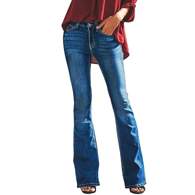7545c3eca52226 Pantaloni Donna Dragon868 Eleganti Jeans Zampa Strappati Bootcut Bottone  Taglie Forti Denim Elastico Women Pants: Amazon.it: Abbigliamento