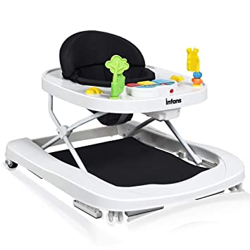 Toddler Walkers with Adjustable Height for Boys Girls,High Back Padded Seat Bouncer,Portable Walk-Behind Activity Center w//Detachable Toys Baby,Feeding Tray Foldable Baby Walker