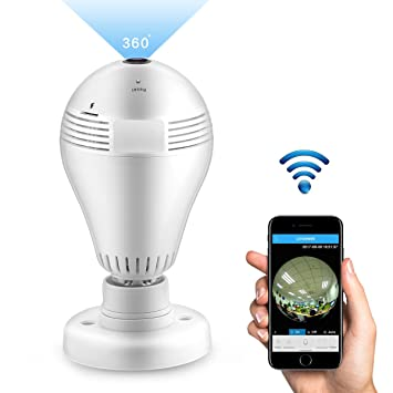 Wireless Panoramic HD IP Camera, ALLOMN Fisheye Lens 360°WiFi Home Security  Camera LED Light Bulb 1080P FHD Indoor Outdoor Monitor with Two-way Audio