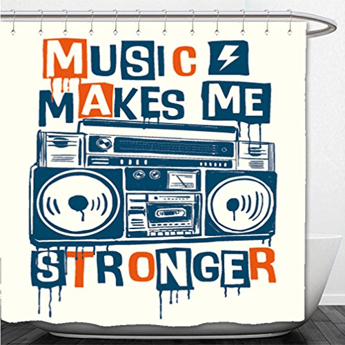 Interestlee Shower Curtain music makes me stronger slogan graphic with cassette player for t shirt and other uses 622942829