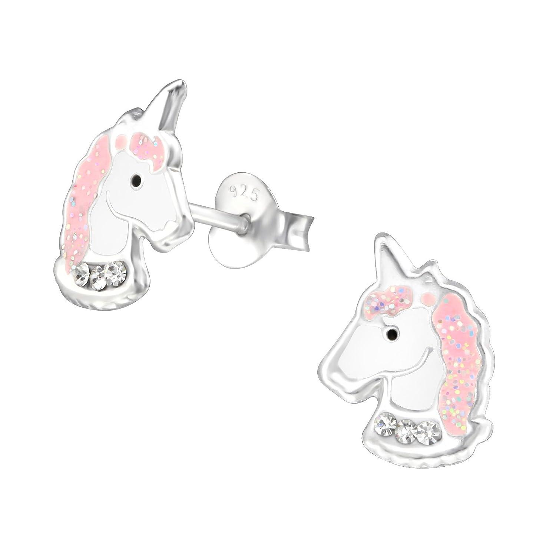 /rosa Tata Gisele/© pendientes ni/ños en plata 925//000/rhodi/é /Cabeza de unicornio 11/mm/ cristal y epoxy/