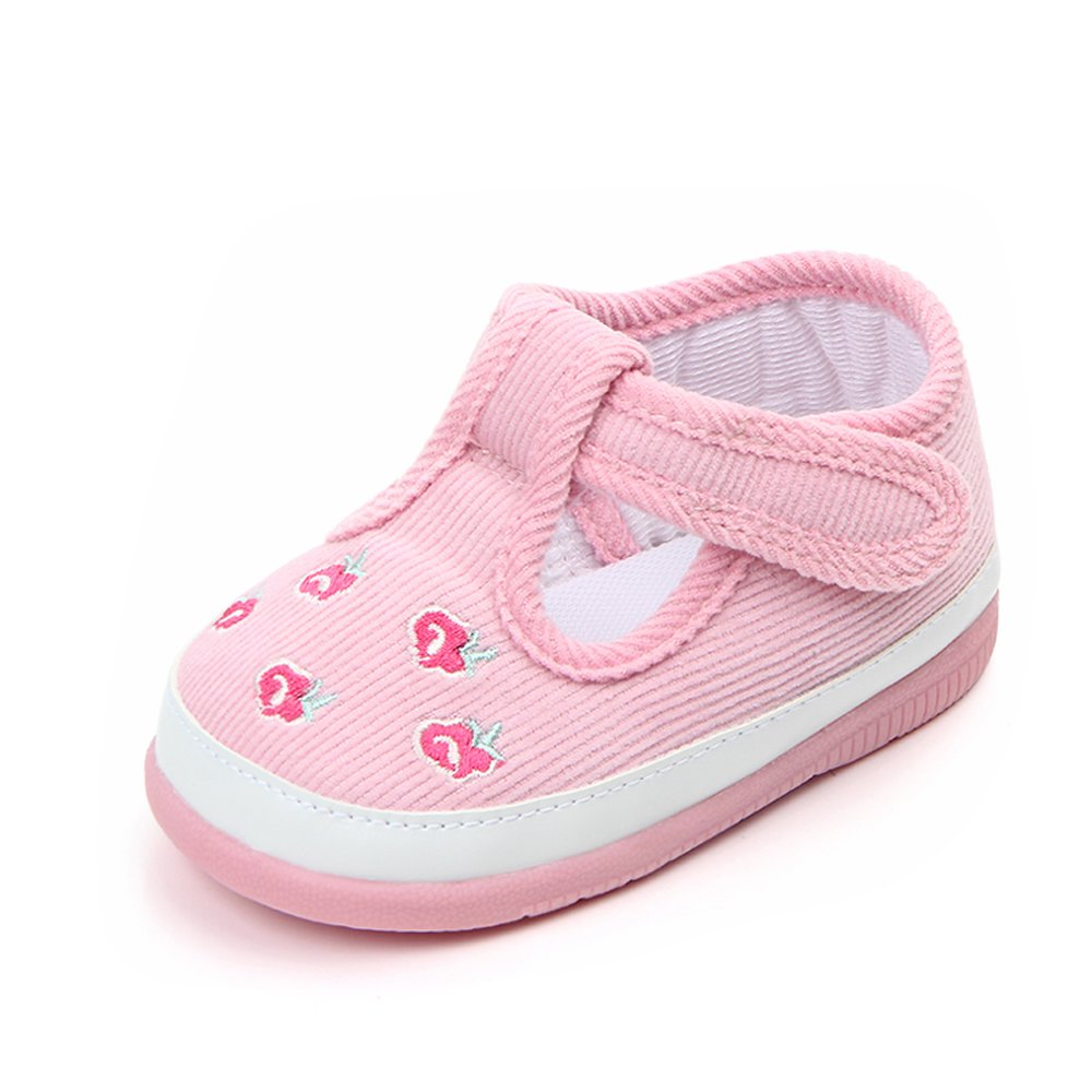 Kuner Baby Girls Flowers Pattern Rubber Sole Outdoor Sneaker First Walkers Shoes (12.5cm(6-12months), Pink)