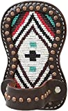 Weaver Leather Cow Calf Steer Holstein Heifer TURQUOISE CROSS Beaded Print Leather Show Comb Holder