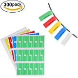 Cable Labels,LANMU Self-adhesive Cable Label,Cable/Cord Identification Tags,10 Sheets 300 Labels,A4 Size Waterproof Tear Resistant Labels Works with Laser Printer(5 Assorted Colors)