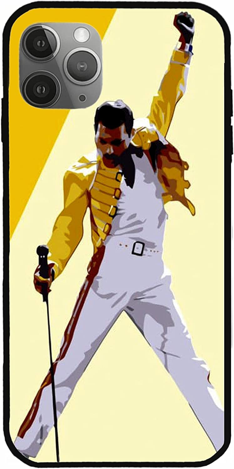 NATTEE Phone Case Compatible with iPhone 12 11 X Xs Xr 8 7 6 6s Plus Mini Pro Max British Singer Yellow Jacket Freddie Mercury Book Queen Rock Music Pure Clear Cases Cover Full Body