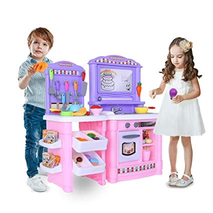 Amazon.com: 70Pcs Kitchen Play Set with Graffiti Board ...