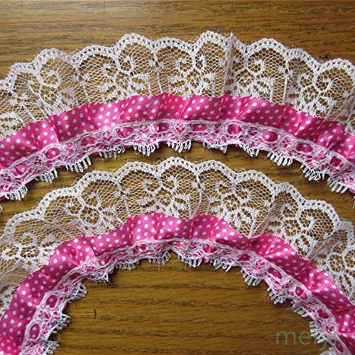 - 2 Yard 2-Layer Pleated Organza Polka Dot Ruffled Satin Lace Edge Gathered Net Trim Ribbon 2