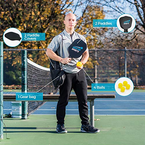 Westop Sports Pickleball Paddle Set - Bundle Includes 2 Graphite Paddles + 2 Paddle Covers + 4 Balls + 1 Shoulder Gear Bag - Classic Rackets Feature ...