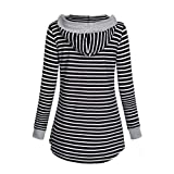 XOWRTE Women's Sweatshirt V-Neck Tunic Stripe
