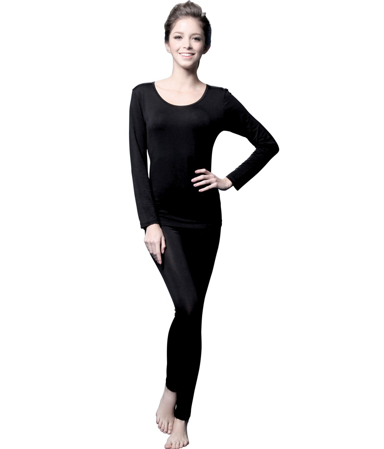 Giam Vico2 Feelvery Women's Natural Soft Tencel Long Johns Top & Bottom Thermal Underwear Set (Large, Black)