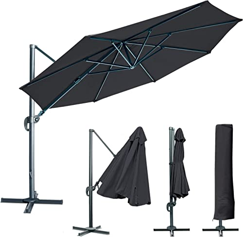BenefitUSA 11.5 Hanging OffsetRoma Umbrella Deluxe Outdoor Umbrella UV 50 Tilt 360 Rotation Patio Heavyduty Sunshade Cantilever Crank with Protect Cover- Black