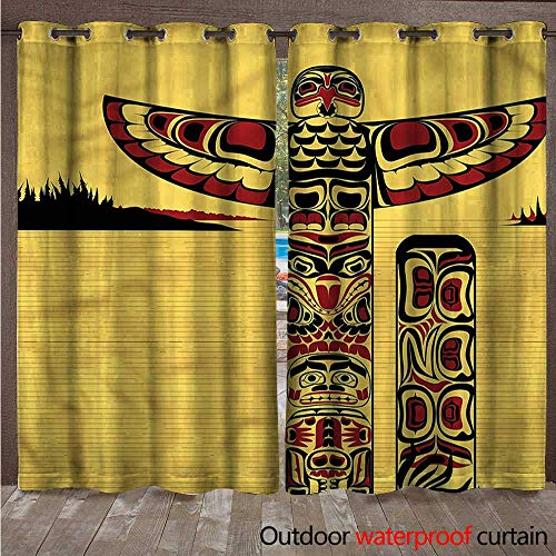 Native American Outdoor Curtains for Patio Sheer Totem Pole Retro W96 x L84(245cm x -