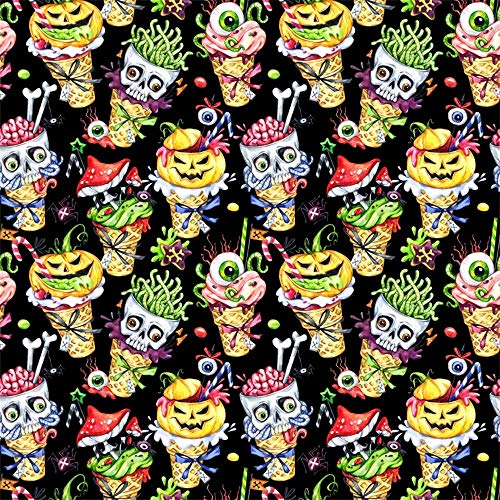 Laeacco 8x8ft Cartoon Halloween Ice Cream Cone Backdrop Vinyl Spooky Skull Brain Green Worms Red Drug Mushroom Pumpkin Lamp Eyeball Ice Creams Illustration Photography Background Child Baby Shoot -