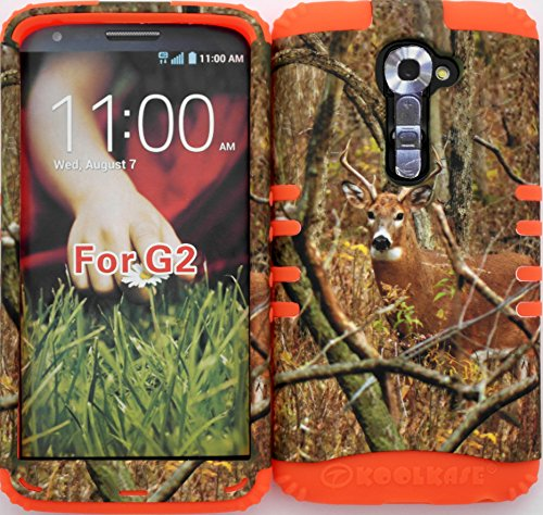 Wireless Fones TM High Impact Hybrid Rocker Case for LG G2 VS980 (Verizon only) Mossy Camouflage Real Deer on Orange Silicone (Verizon Lg G2 Bling Case)